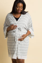 Heather Grey Striped Lace Trim Delivery/Nursing Plus Maternity Robe