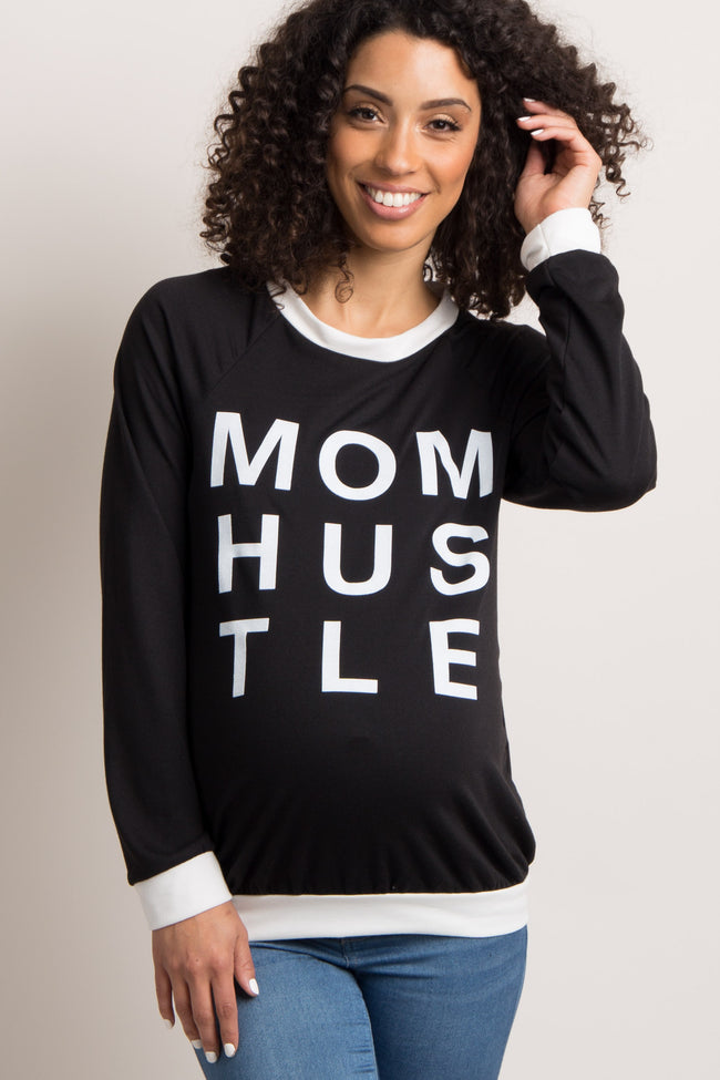 "Black Colorblock ""Mom Hustle"" Graphic Maternity Top"