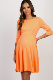 Orange Scalloped Hem Maternity Dress