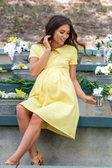 Yellow Basic Pleated Skirt Maternity Dress