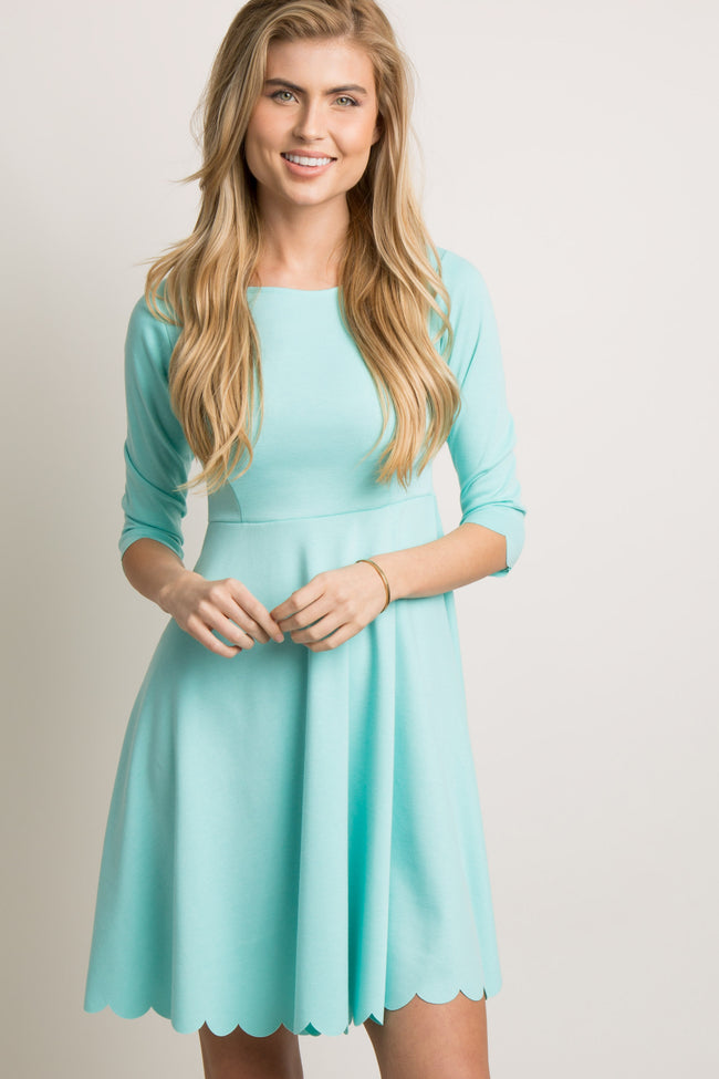 Mint Scalloped Hem Maternity Dress