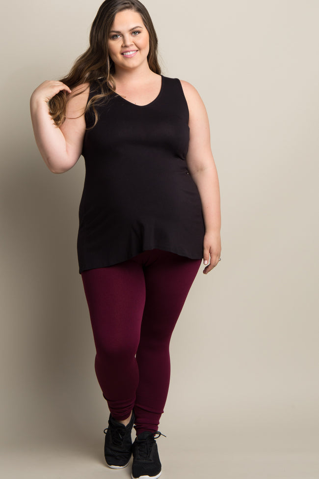 Deep Red Fleece Lined Plus Maternity Leggings