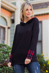 Charcoal Hooded Plaid Accent Top