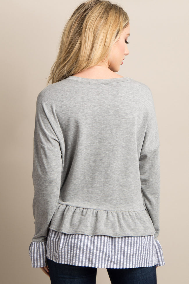 Heather Grey Solid Ruffled Striped Trim Top