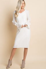 Ivory Solid Sleeve Tie Accent Dress