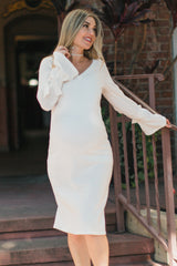 Ivory Solid Sleeve Tie Accent Maternity Dress