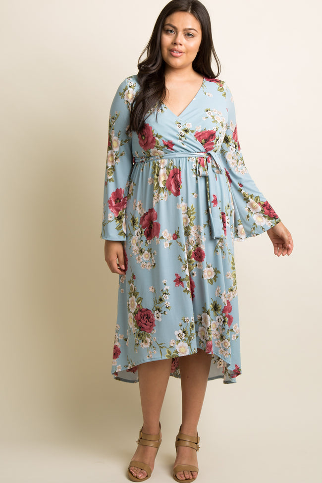Mint Green Floral Hi-Low Plus Wrap Dress