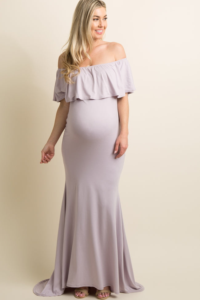 PinkBlush Lavender Ruffle Off Shoulder Mermaid Maternity Photoshoot Gown/Dress