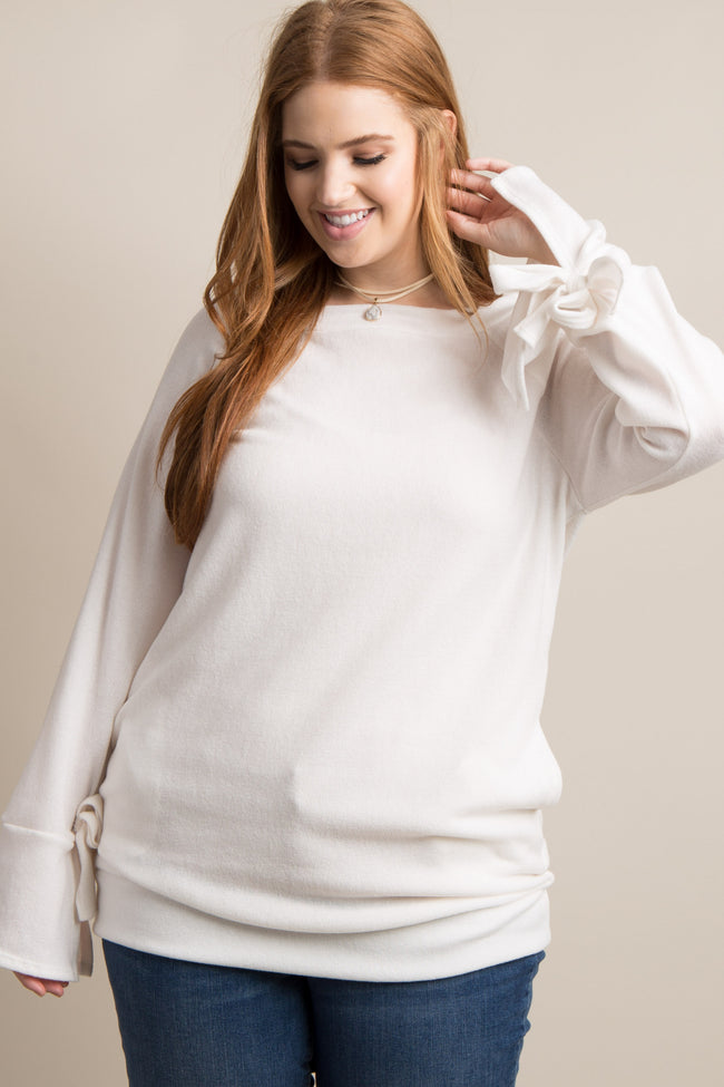 Ivory Solid Sleeve Tie Plus Sweater