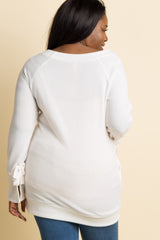 Ivory Solid Sleeve Tie Plus Maternity Sweater