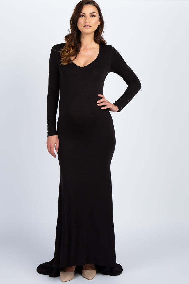 PinkBlush Black Long Sleeve Photoshoot Maternity Gown/Dress