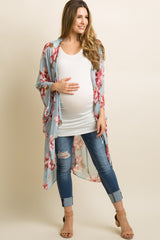 Light Blue Floral Chiffon Draped Cover Up