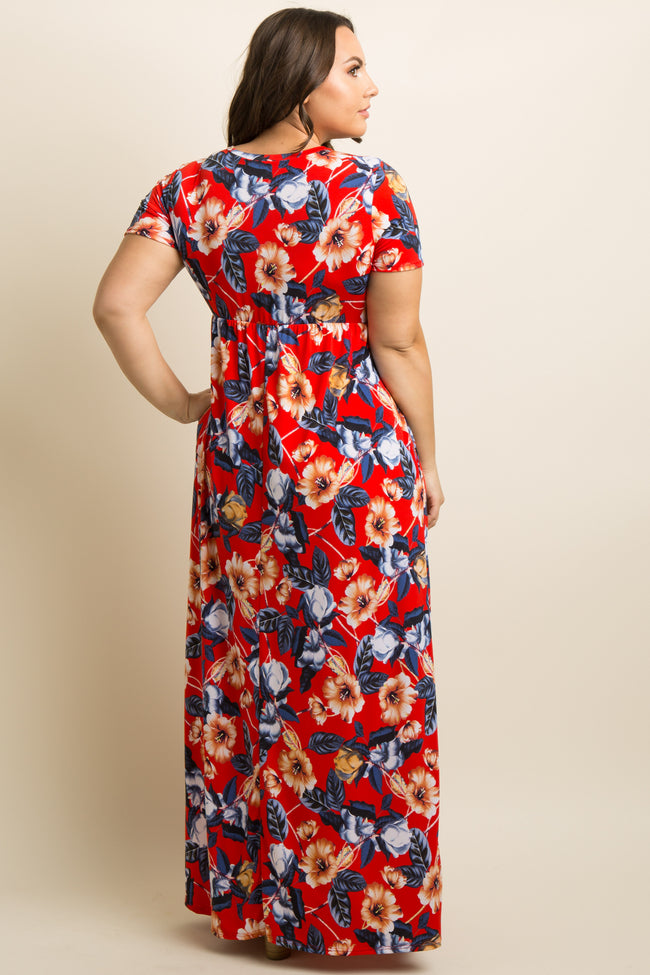 Red Hibiscus Floral Print Plus Maxi Dress