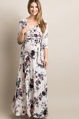 Tall White Floral Maternity/Nursing Maxi Wrap Dress