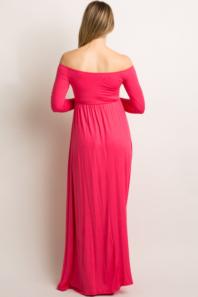 Coral Solid Off Shoulder Maternity Maxi Dress