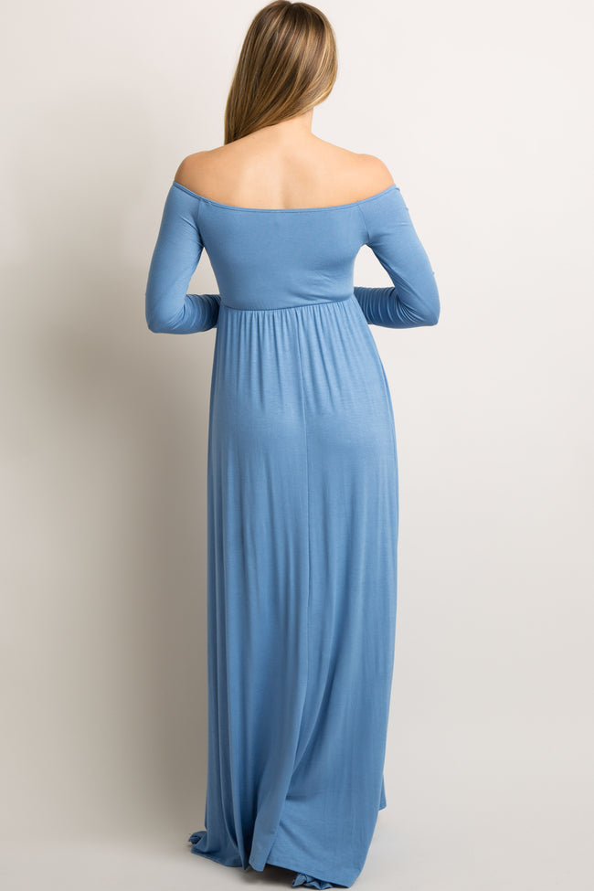 PinkBlush Blue Solid Off Shoulder Maternity Maxi Dress
