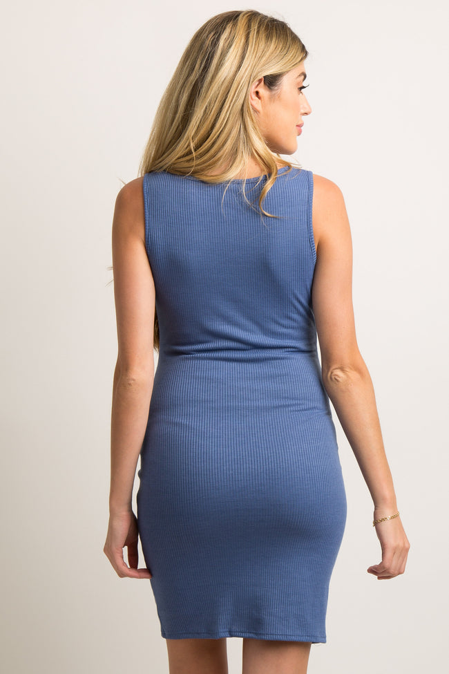 PinkBlush Blue Sleeveless Ribbed Fitted Maternity Dress