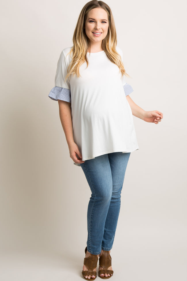Ivory Short Sleeve Striped Ruffle Trim Plus Maternity Top