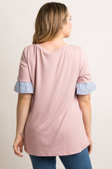 Pink Short Sleeve Striped Ruffle Trim Plus Maternity Top