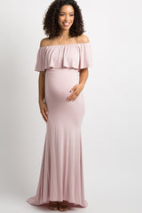 Light Pink Ruffle Off Shoulder Mermaid Maternity Photoshoot Gown/Dress