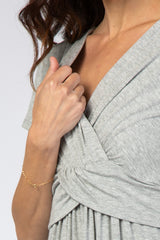 PinkBlush Heather Grey Draped Maternity/Nursing Maxi Dress