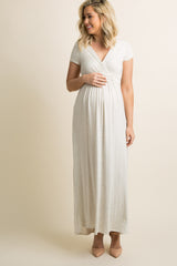 PinkBlush Beige Draped Maternity/Nursing Maxi Dress