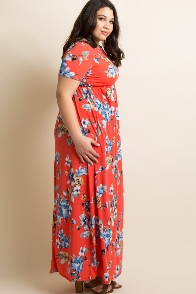 Coral Floral Short Sleeve Plus Maxi Dress