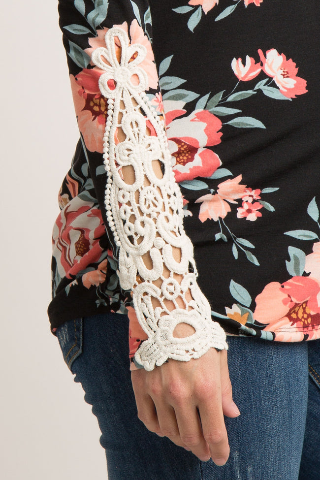 Black Floral Crochet Sleeve Maternity Top