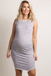 Purple Faux Wrap Fitted Terry Maternity Dress