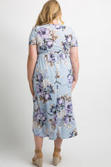 Blue Floral Sash Tie Hi-Low Plus Maternity Midi Dress