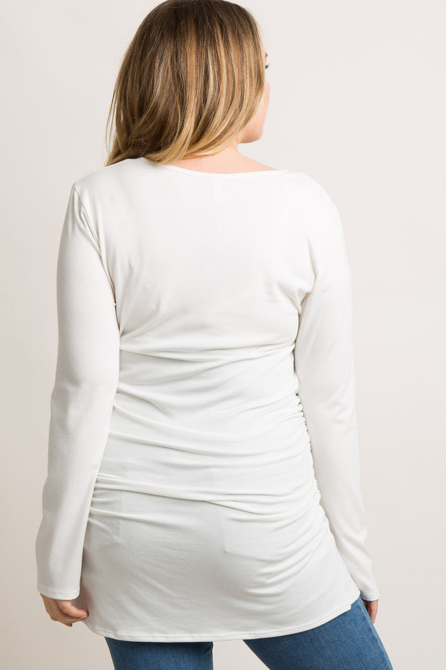 PinkBlush White Long Sleeve V-Neck Plus Maternity Top