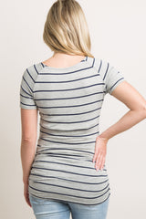 Heather Grey Striped Short Sleeve Fitted Maternity Top