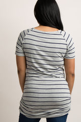 Grey Striped Short Sleeve Fitted Plus Maternity Top