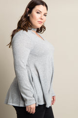 Grey Cutout Soft Knit Plus Sweater