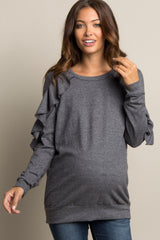 Charcoal Ruffle Shoulder Soft Knit Maternity Sweater