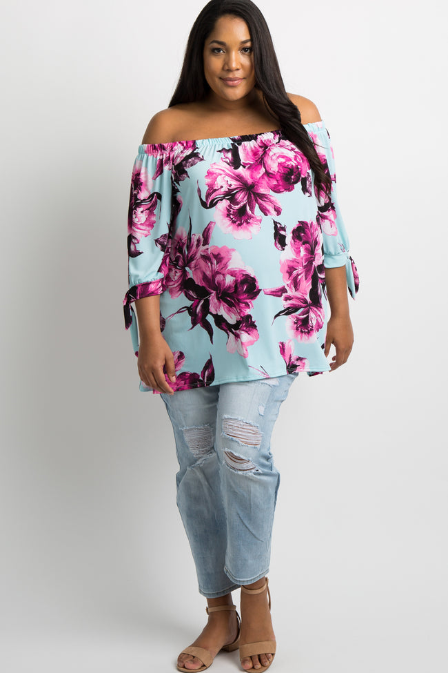 Mint Green Floral Sleeve Tie Off Shoulder Plus Maternity Top