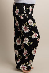 Black Floral Maternity Lounge Pants