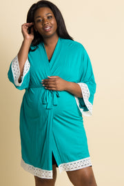 Aqua Lace Trim Plus Delivery/Nursing Maternity Robe