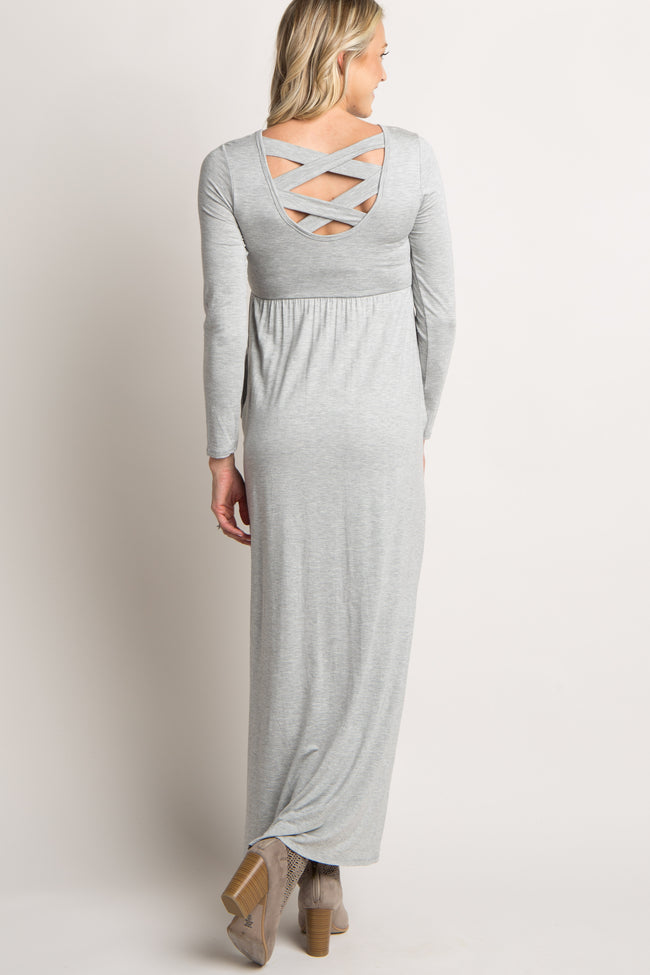 Heather Grey Solid Crisscross Back Maternity Maxi Dress