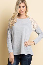 Grey Lace Shoulder Sweater