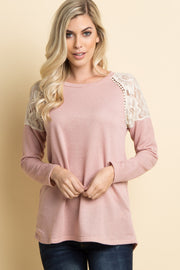 Pink Lace Shoulder Sweater