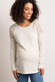 Beige Lace Shoulder Maternity Sweater