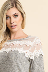 Grey Soft Knit Crochet Mesh Accent Top
