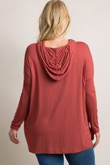 Rust Solid Hooded Dolman Plus Maternity Top