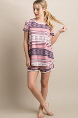 Mauve Print Crochet Maternity Short Pajama Set