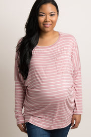 Mauve Striped Pocket Front Plus Maternity Top