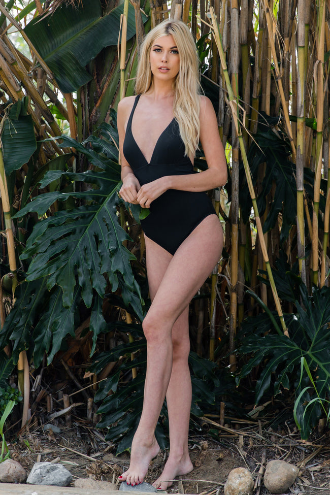 Black Strappy Back One-Piece Swimsuit