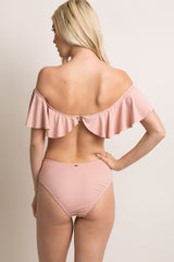 Pink Ruffle Cutout Back One-Piece Swimsuit