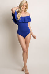 Royal Blue Off Shoulder Ruffle One-Piece Swimsuit