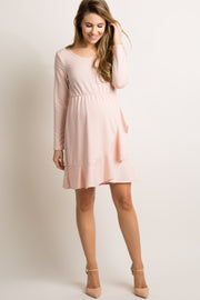Light Pink Solid Wrap Ruffle Trim Maternity Dress